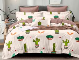 Семейный набор хлопкового постельного белья из Сатина №8016AB Черешенка™