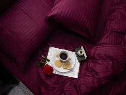 Двоспальний набір постільної білизни 180*220 з Страйп Сатину №541716 KRISPOL™
