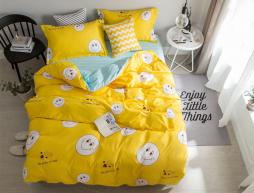 Полуторный набор постельного белья 150*220 из Сатина №1028AB Черешенка™