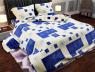 """Тканина для постільної білизни Бязь """"Gold"""" Lux """"Геометричний принт (синій, квітка)"""" GL1018"""