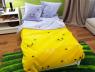 """Ткань для постельного белья Бязь """"Gold"""" Lux """"Мяу (текстовый, желтый)"""" детская GLB149 (A+B) - (50м+50м)"""