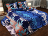 """Ткань для постельного белья Бязь """"Gold"""" Lux """"Абстрактный принт (завитки, полоска, синий)""""GL687"""