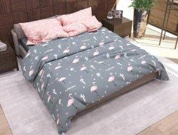 "Ткань для постельного белья Бязь ""Gold"" Lux ""Розовые фламинго (мелкий, серый)"" GL1235 (A+B) - (50м+50м)"