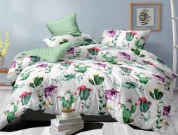 Полуторный набор постельного белья 150*220 из Сатина №1004AB Черешенка™