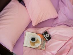 """Полуторный набор однотонного постельного белья 150*220 из Бязи """"Gold"""" №15757AB Черешенка™"""