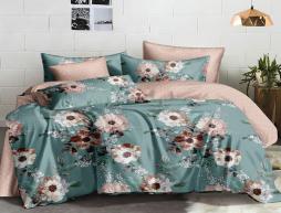 Полуторный набор постельного белья 150*220 из Сатина №862AB Черешенка™