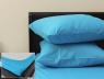 Комплект простыни на резинке с наволочками (160*200*25) голубой