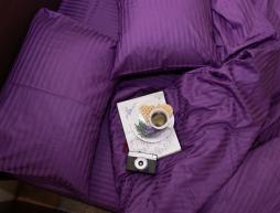 Полуторный набор постельного белья 150*220 из Страйп Сатина №50344 Черешенка™