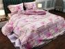 """Ткань для постельного белья Бязь """"Gold"""" Lux """"Цветочный принт (розовий, полоска)"""" GL470."""