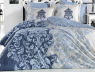 """Ткань для постельного белья Бязь """"Gold"""" Lux """"Синий вензель с завитками"""" GL842"""