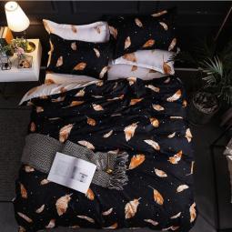 """Ткань для постельного белья Бязь """"Gold"""" Lux  """"Перья (черный, оранжевые)"""" GL1242 (A+B) - (50м+50м)"""