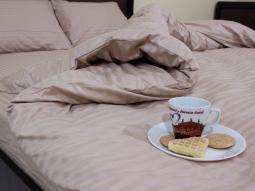 Двоспальний набір постільної білизни 180*220 з Страйп Сатину №541209 KRISPOL™