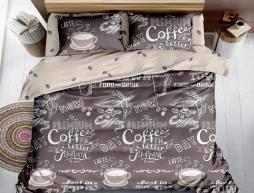 Двуспальный набор постельного белья 180*220 из Сатина №1005AB Черешенка™
