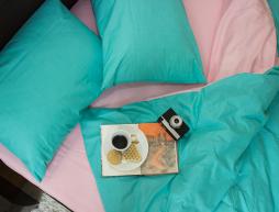 """Полуторный набор однотонного постельного белья 150*220 из Бязи """"Gold"""" №15753AB Черешенка™"""