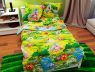 """Ткань для постельного белья Бязь """"Gold"""" Lux детская """"Смешарики (салатовый)"""" GLB076."""