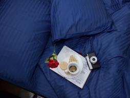 Евро макси набор постельного белья 200*220 из Страйп Сатина №50777 Черешенка™