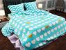 """Ткань для постельного белья Бязь """"Gold"""" Lux """"Геометрический принт (синий, цветок)""""  GL1018"""
